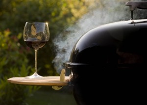 grill and glass of wine low mem